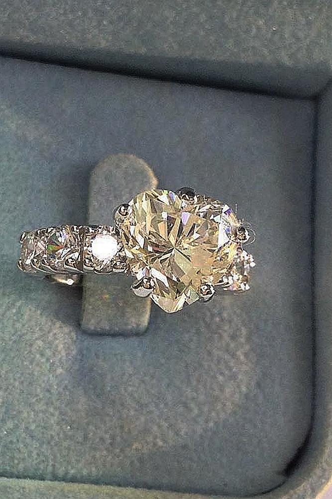 heart engagement rings solitaire diamond gold pave band