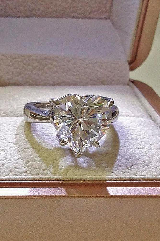 heart engagement rings solitaire diamond white gold