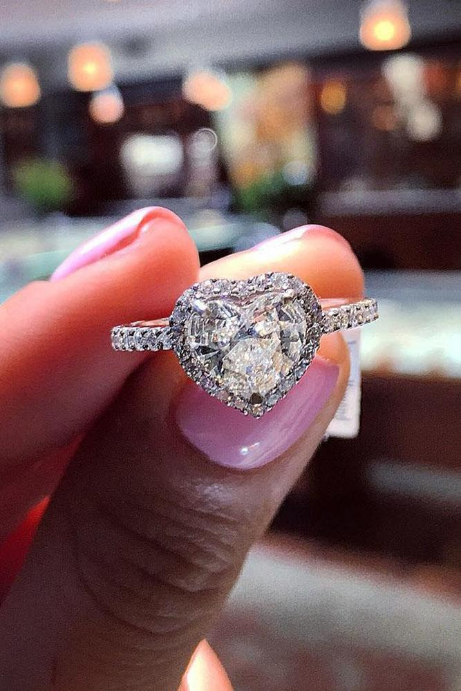 heart engagement rings white gold halo diamond pave band