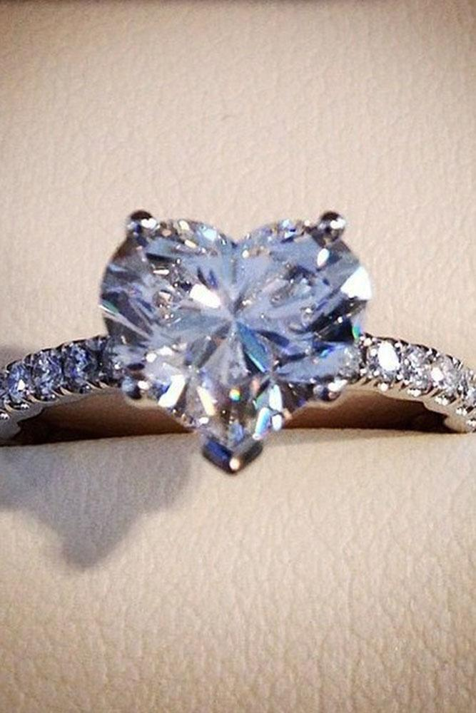 heart engagement rings white gold pave band center-diamond