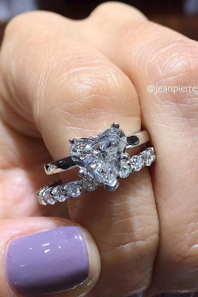 heart engagement rings white gold solitaire wedding ring set