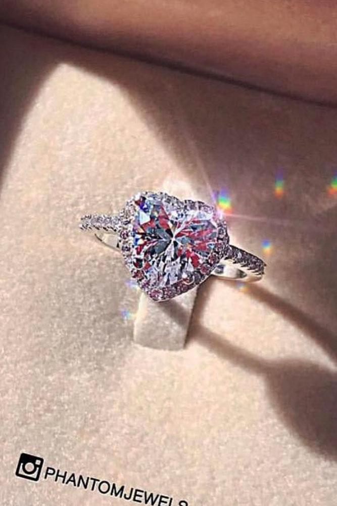 heart engagement rings white silver halo center heart cut stone