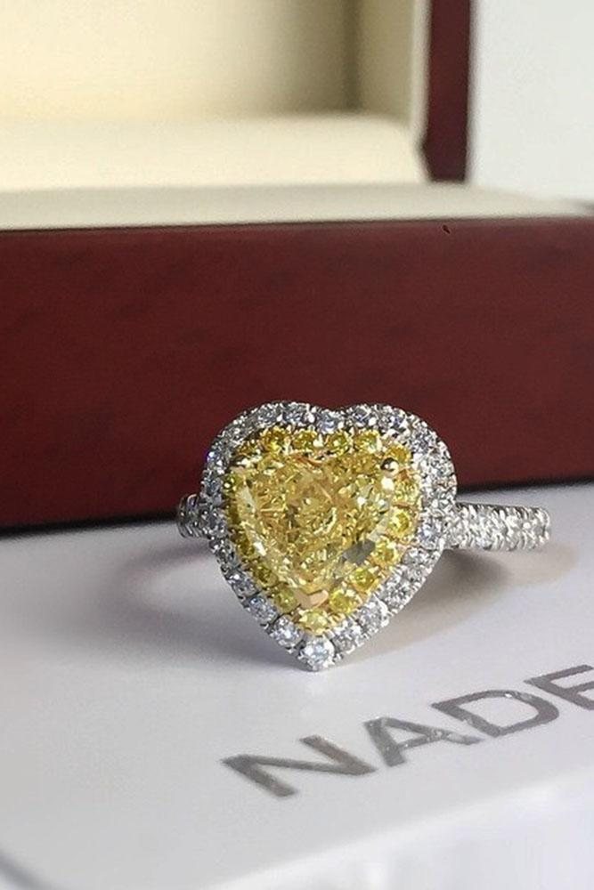 heart engagement rings yellow diamond halo white gold pave band
