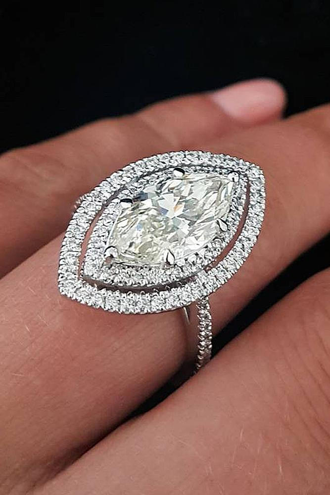marquise diamond double halo white gold pave band