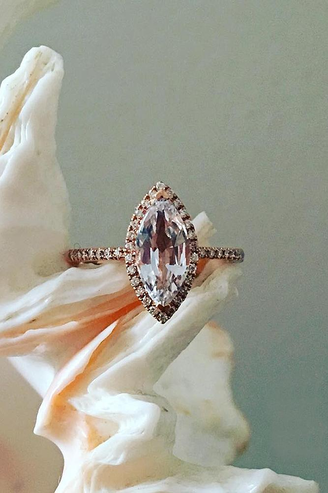 marquise diamond pave band rose gold halo
