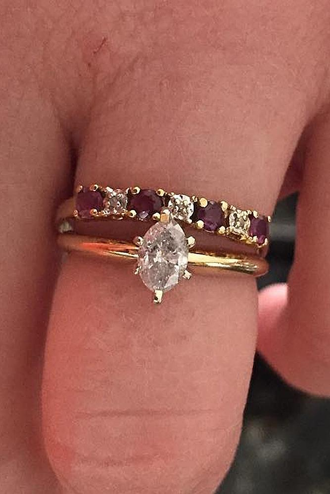 marquise diamond rose gold solitaire wedding set