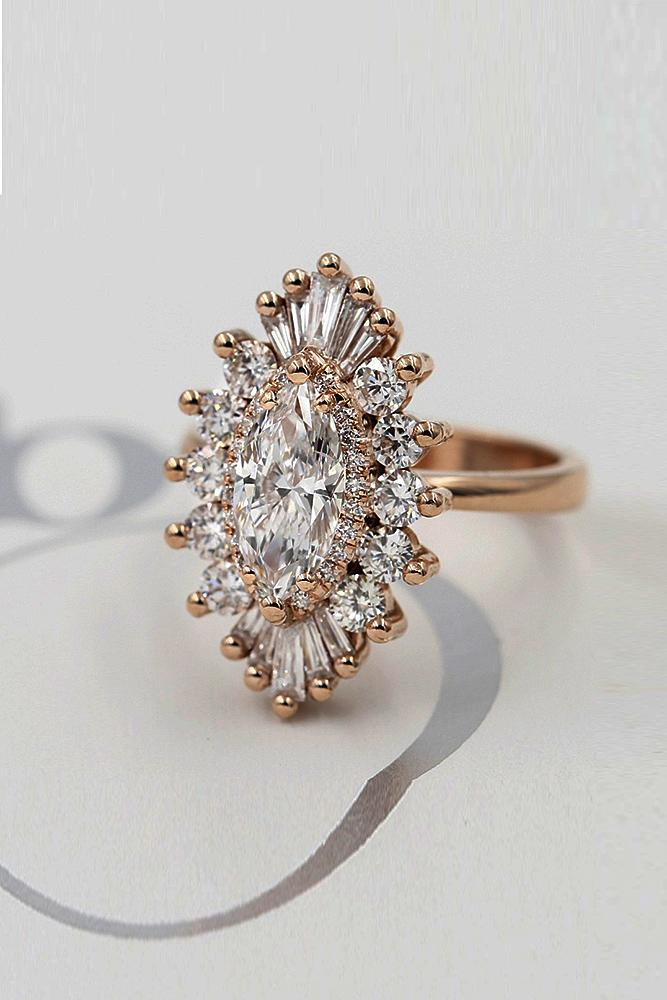 marquise diamond rose gold unique halo