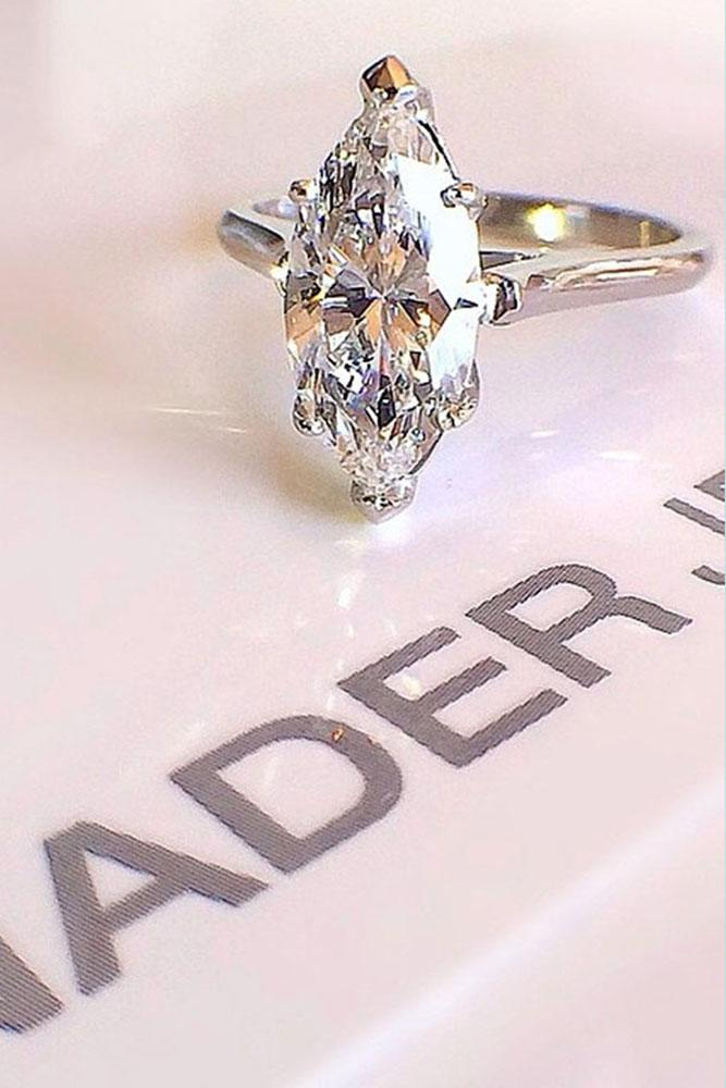 marquise diamond simple center diamond in white gold