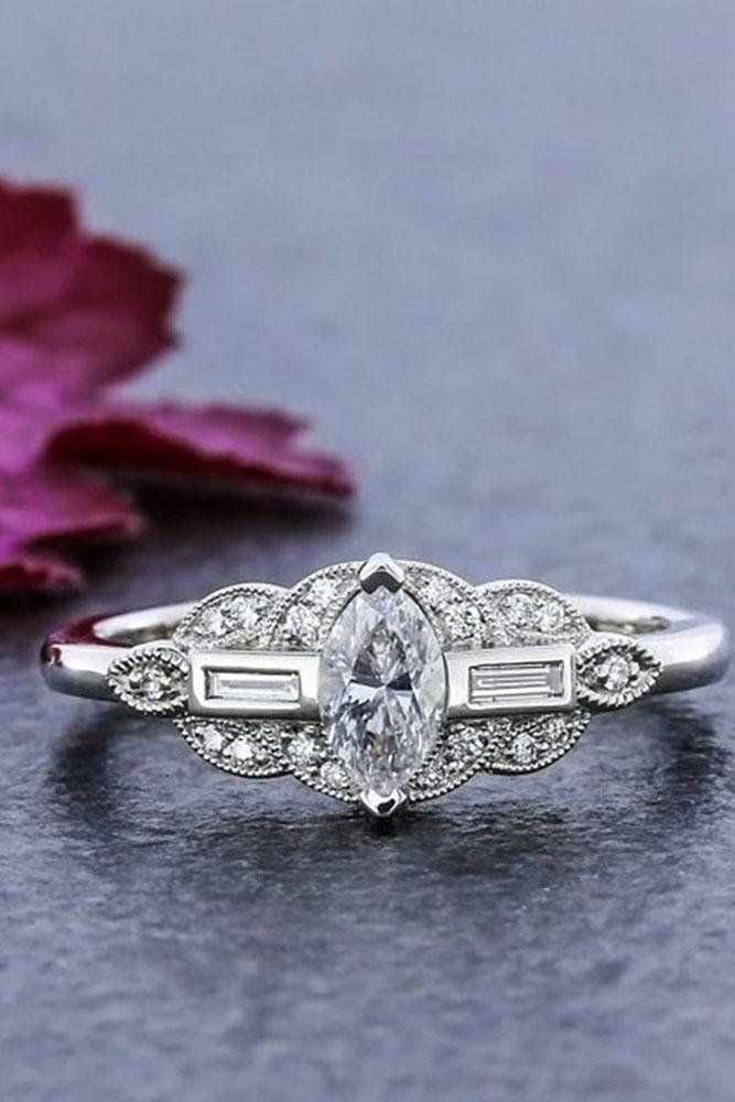 marquise diamond vintage ring white gold