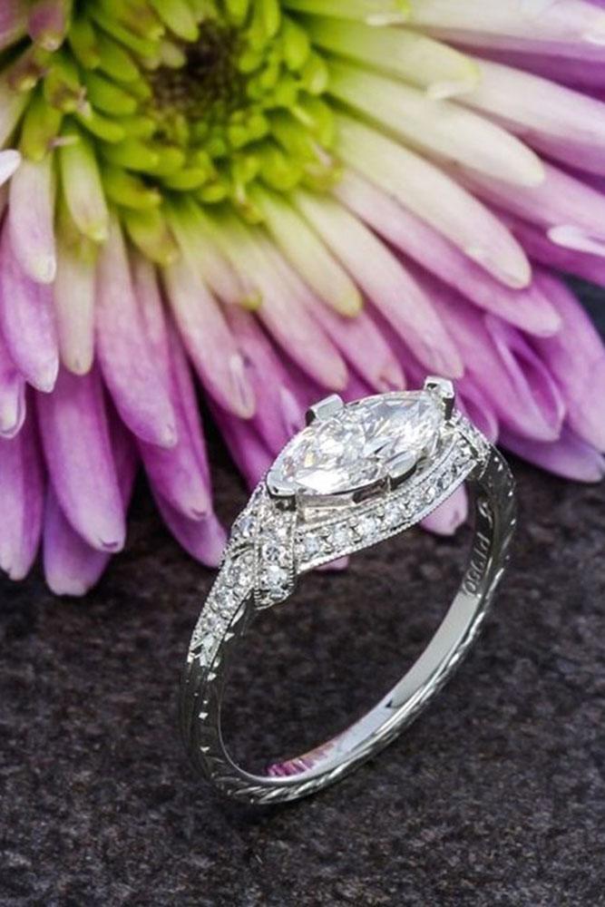marquise diamond vintage style white gold