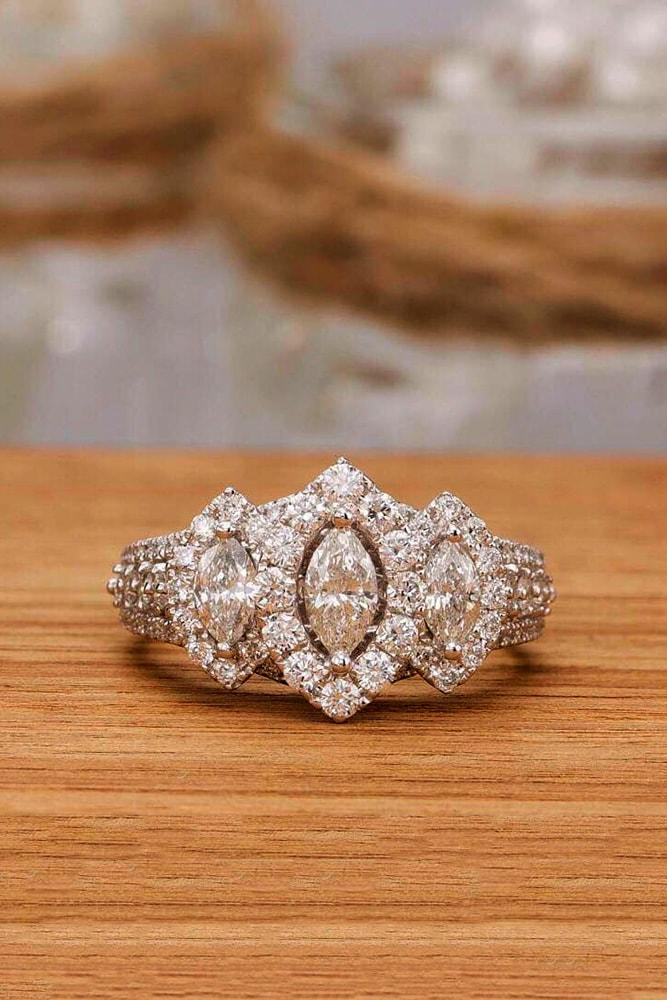 marquise diamond white gold ring with three stones marquise cut diamond halo pave band with diamond
