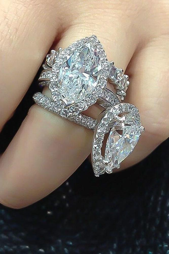 marquise diamond white gold unique halo ring set