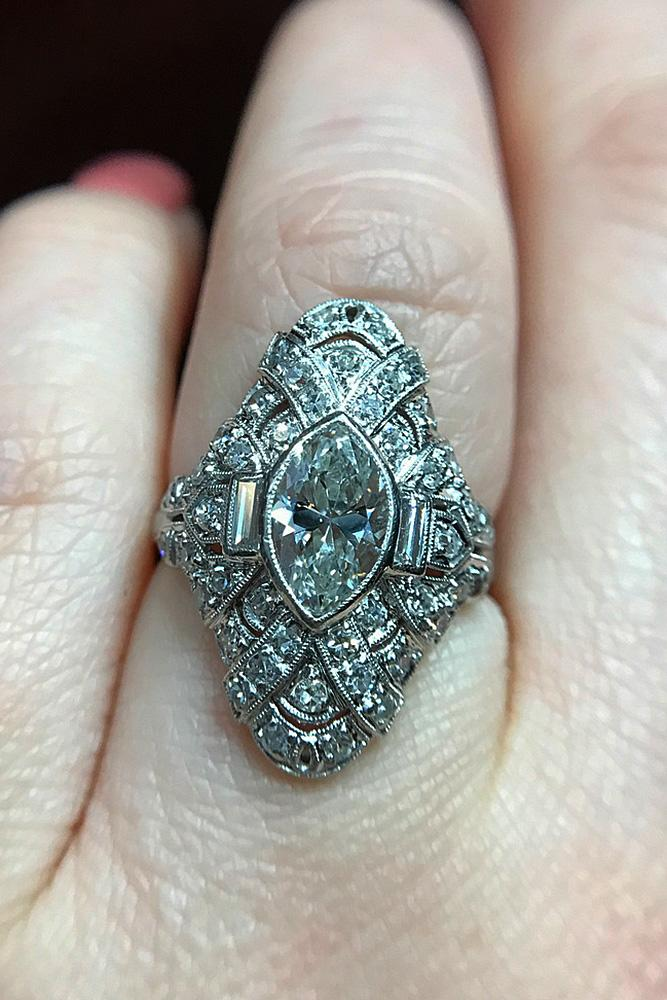 marquise diamond white gold unique modern
