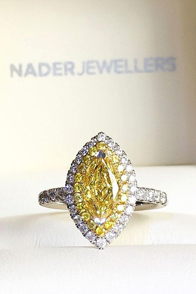 marquise diamond yellow diamond halo pave band white gold