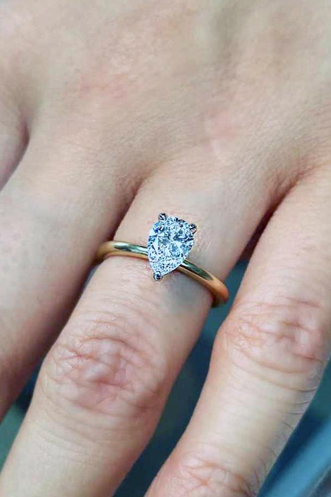 pear cut engagement rings yellow gold simple solitaire diamond