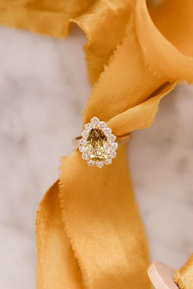 pear shaped engagement rings gemstone halo rose gold floral
