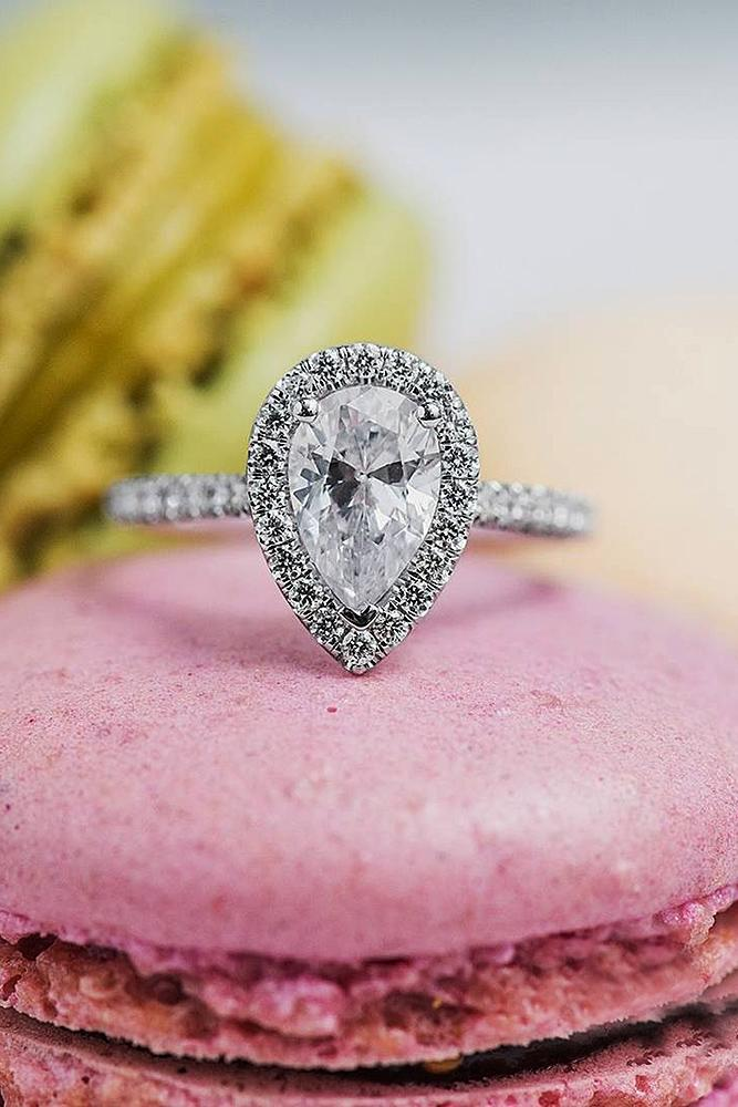pear shaped engagement rings halo pave band diamond
