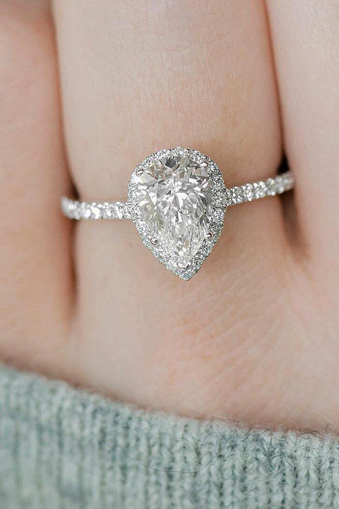 pear-shaped engagement rings halo pave band diamonds