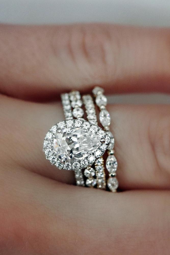 pear shaped engagement rings halo wedding set diamond