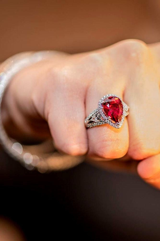 pear shaped engagement rings red gemstone unique vintage halo
