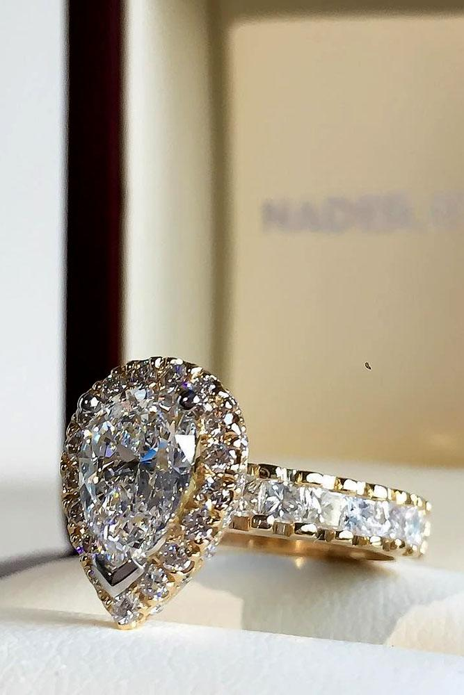 pear shaped engagement rings rose gold pave band halo diamonds