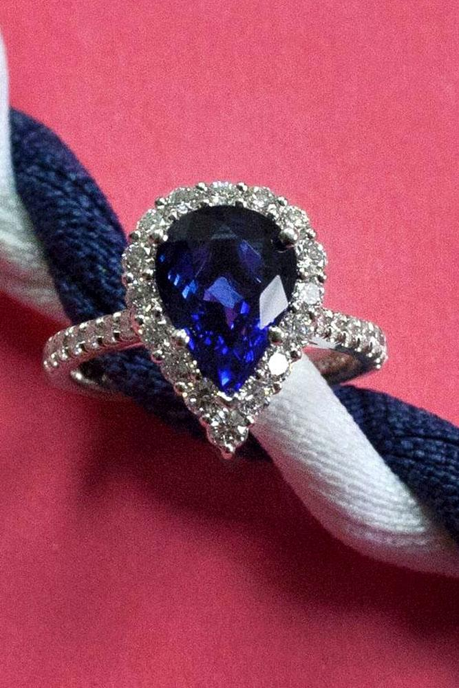 pear shaped engagement rings sapphire white gold pave band
