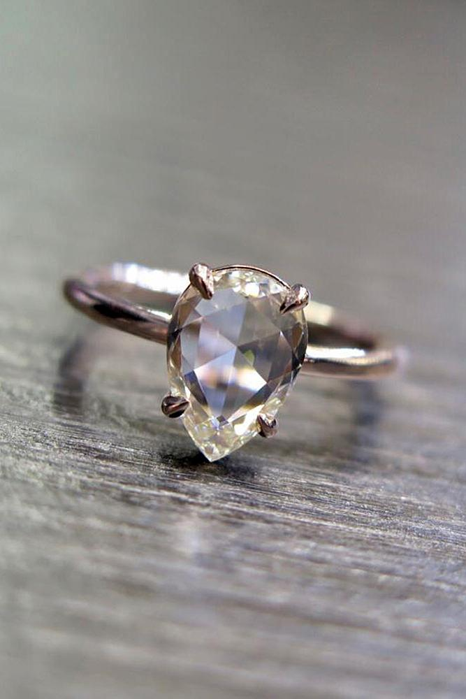 pear shaped engagement rings simple solitaire diamond rose gold