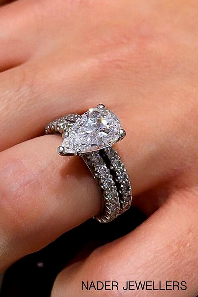 pear shaped engagement rings solitaire white gold pave band