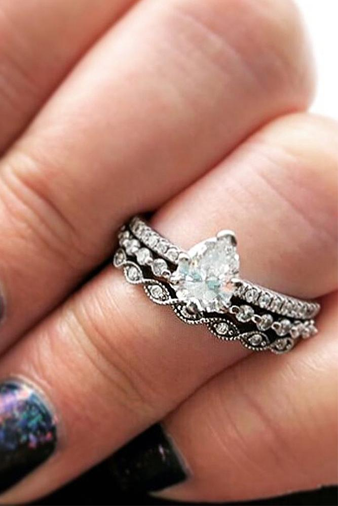 pear shaped engagement rings stackable ring diamond white gold