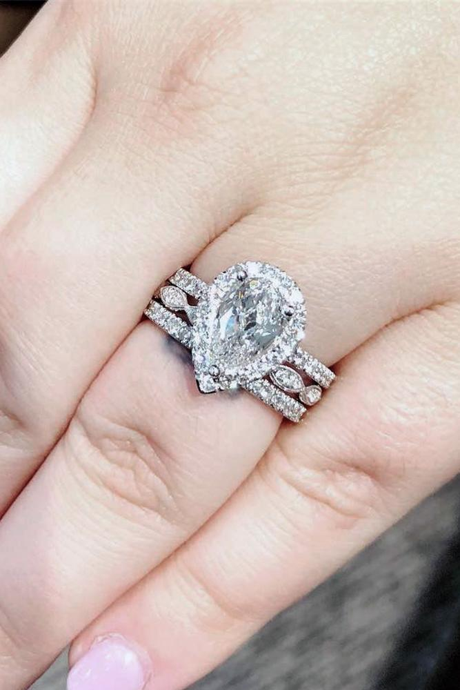 pear shaped engagement rings stackable white gold diamonds halo