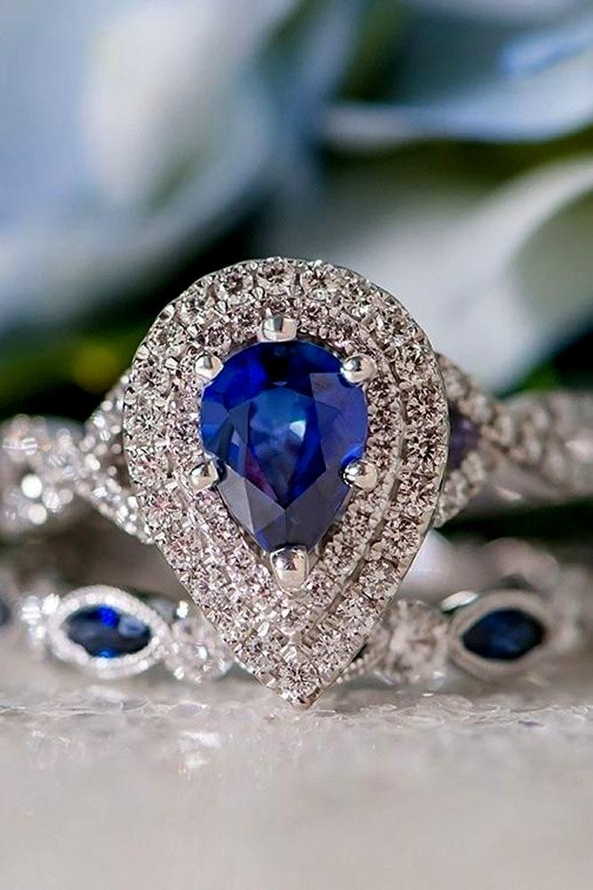 pear shaped engagement rings white gold double diamond halo sapphire