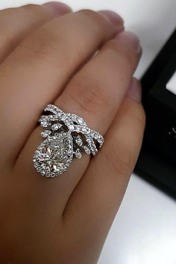 Bon Pear Shaped Engagement Rings White Gold Halo Unique