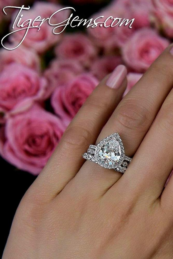 pear shaped engagement rings white gold halo wedding set