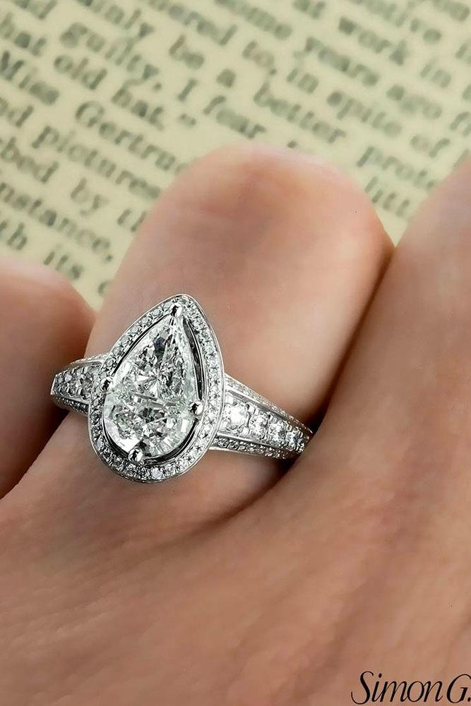 pear shaped engagement rings white gold vintage diamond ring