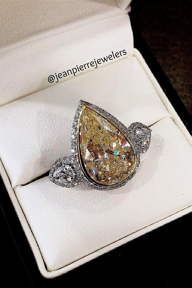 pear shaped engagement rings yellow diamond three stone white gold