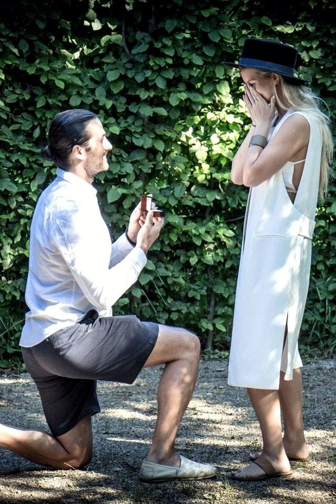 perfect proposals in a park in greenery