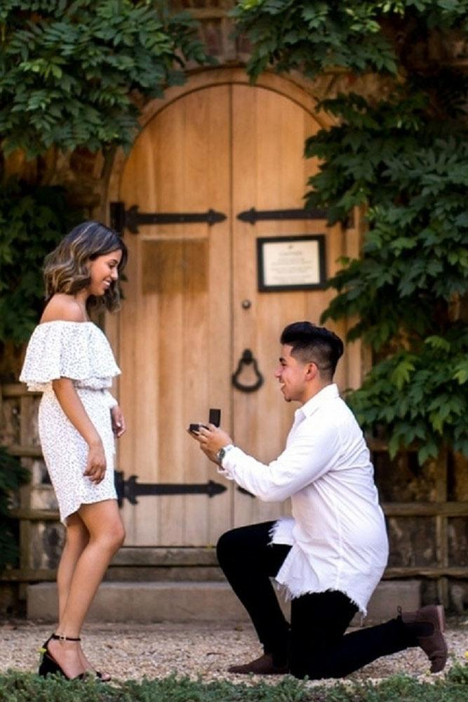 perfect proposals in a park near rustic home