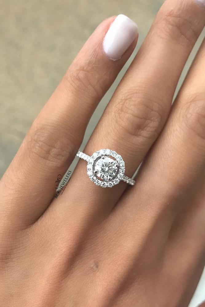 round engagement rings hallo pave bands