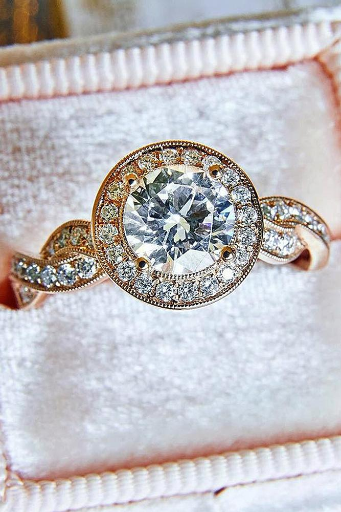 round engagement rings halo diamond twist pave band