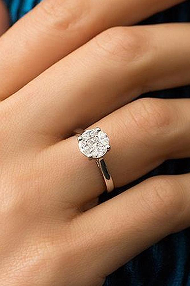 round engagement rings rose gold solitaire simple classic