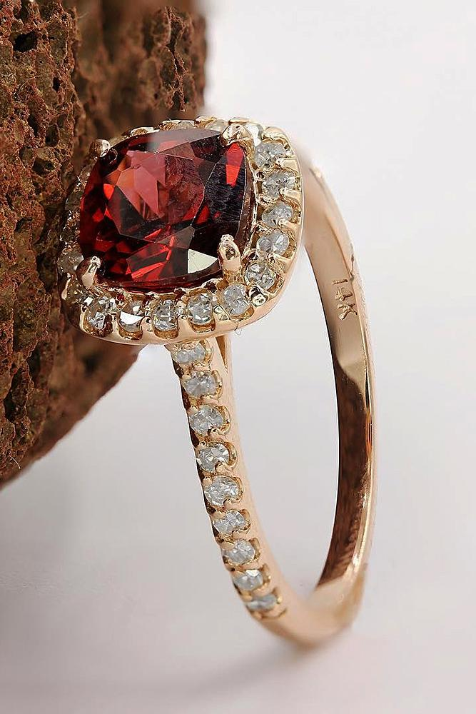 round engagement rings ruby halo pave band rose gold