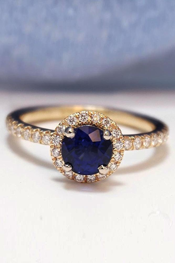 round engagement rings sapphire halo pave band yellow gold