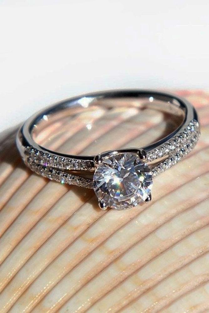 round engagement rings shank white gold pave band