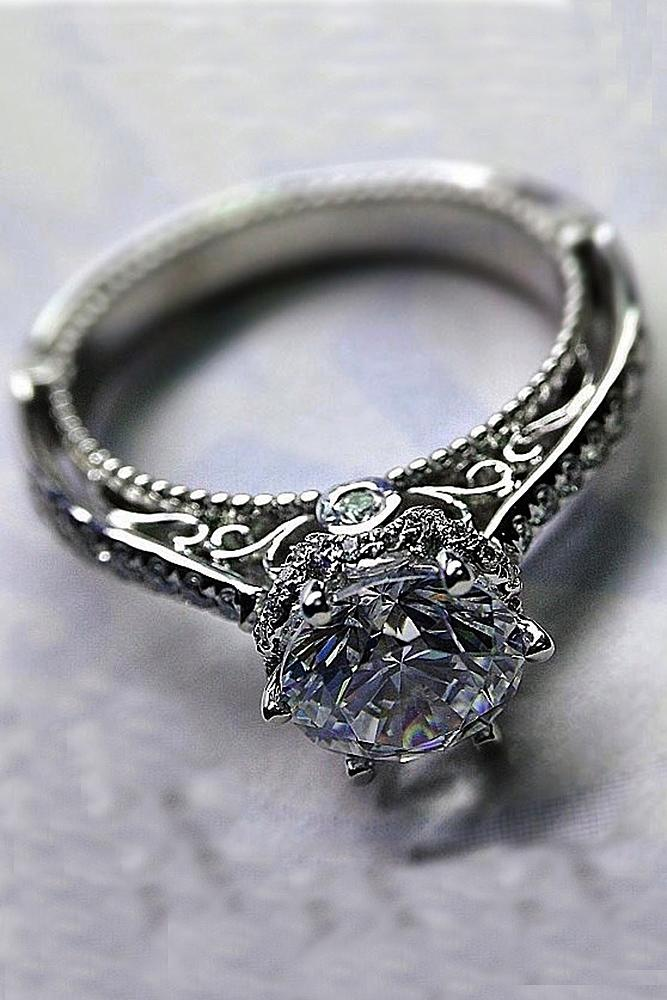round engagement rings solitaire diamond vintage white gold