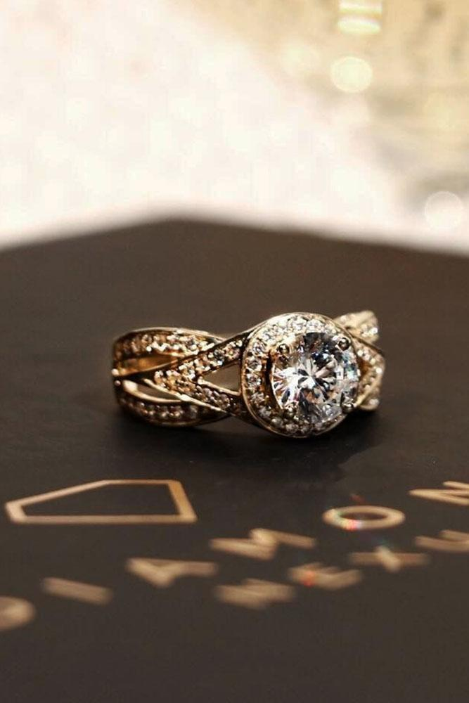 Twisted Diamond Band Engagement Rings