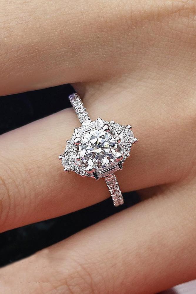 round engagement rings unique diamond mille stones