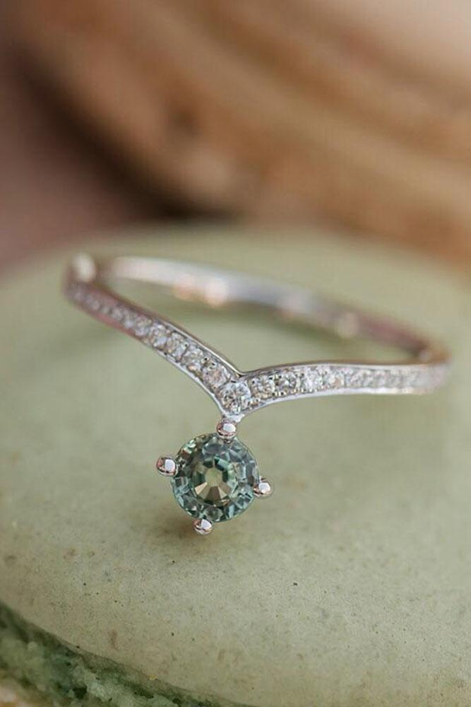 round engagement rings unique pave band