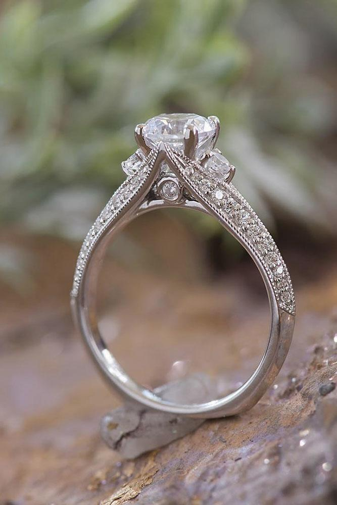 round engagement rings unique vintage white gold pave band