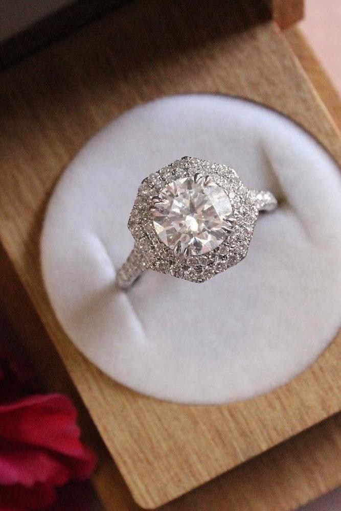 round engagement rings vintage double diamond halo white gold