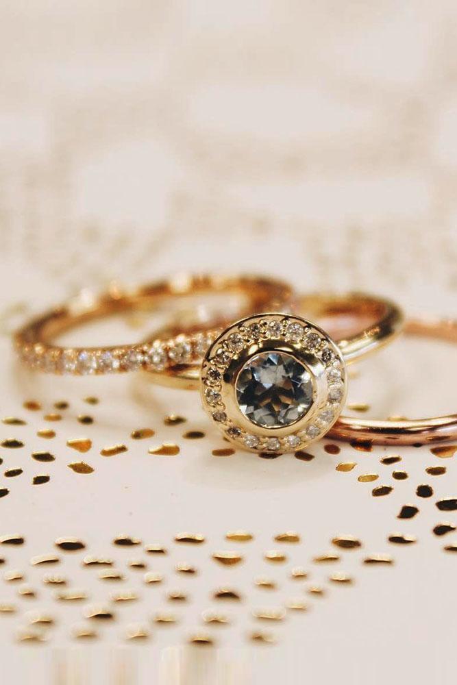 round engagement rings vintage rose gold diamond halo